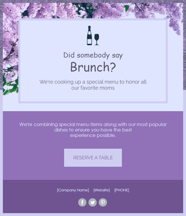 Mother's Day Marketing - email template for an event