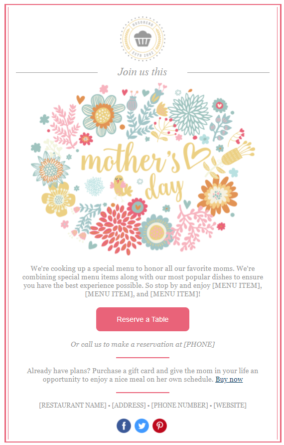 Mother's Day Marketing - email template