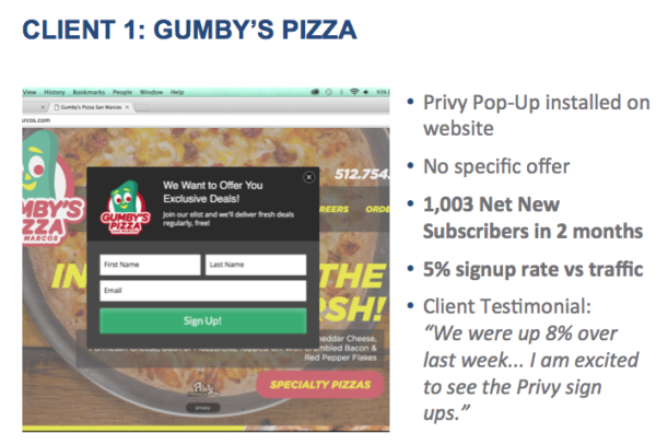 Privy example -- Gumby's Pizza