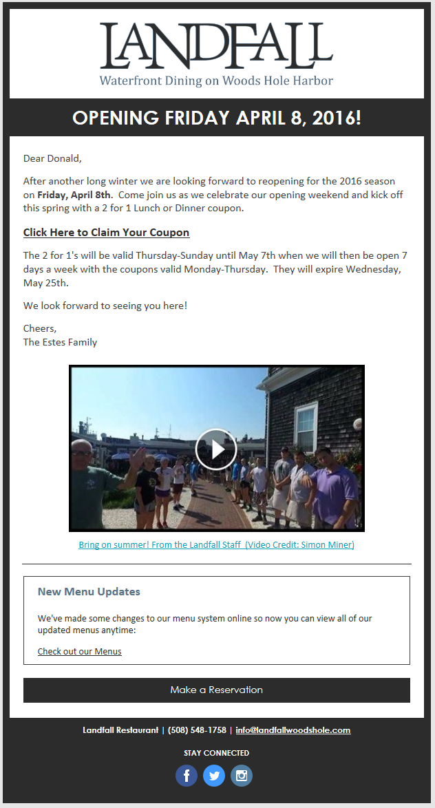 constant contact customer email -- Landfall Restaurant