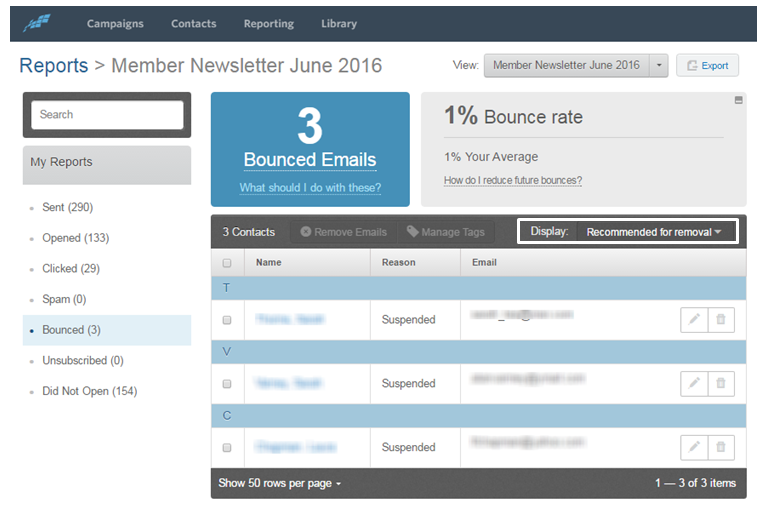 constant contact email bounce report example