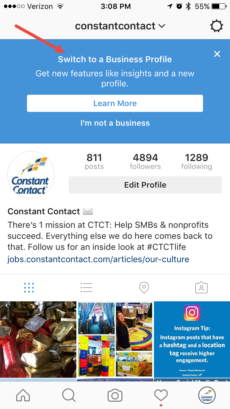 Instagram Switch to a Business Profile