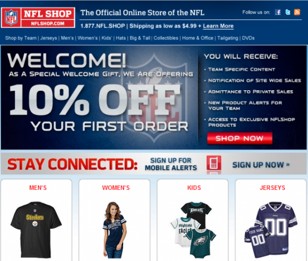 NFL welcome email