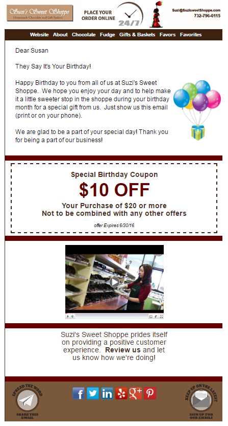 Suzi's Sweet Shoppe birthday email