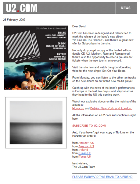 Email Design - U2 example 2