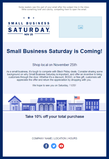 11 holiday email templates for small businesses nonprofits small business saturday accmission Images