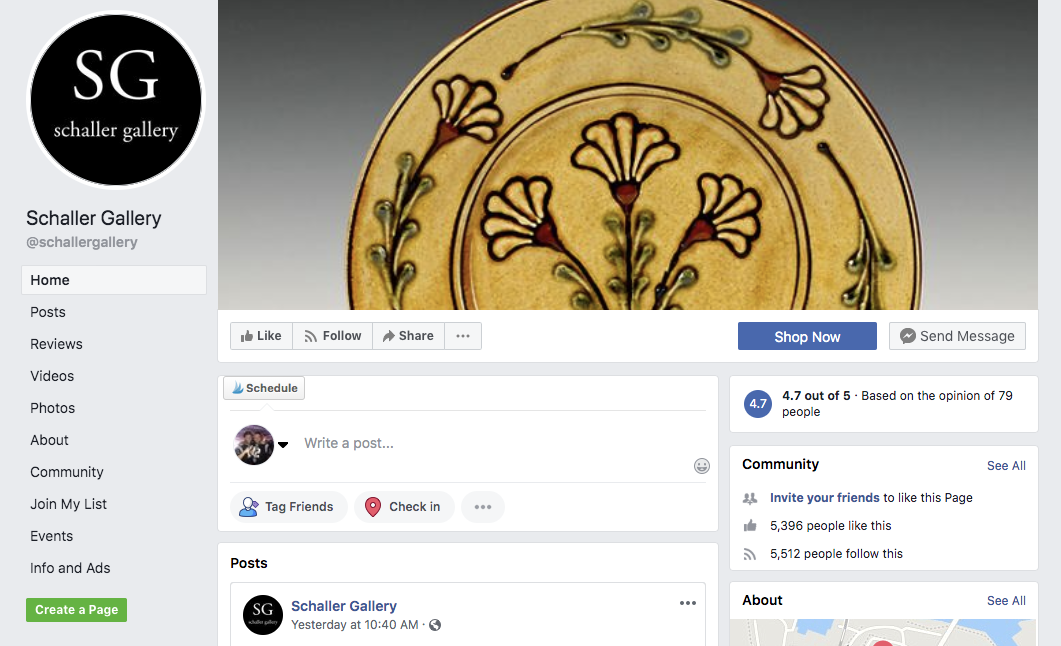 Schaller Gallery's Facebook page as seen in 2019.