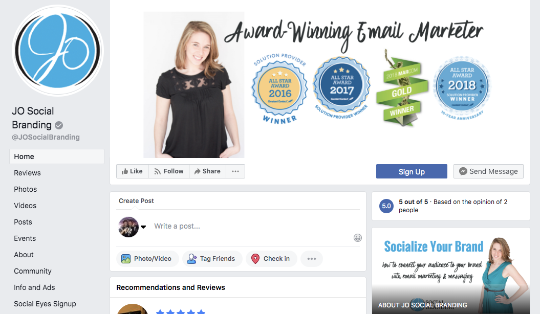 A screenshot of the Facebook page for JO Social Branding.