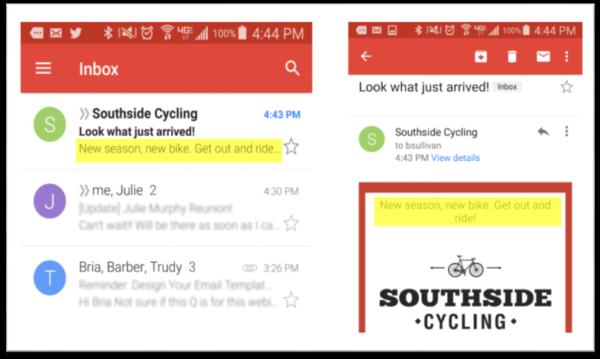email design checklist -- preheader