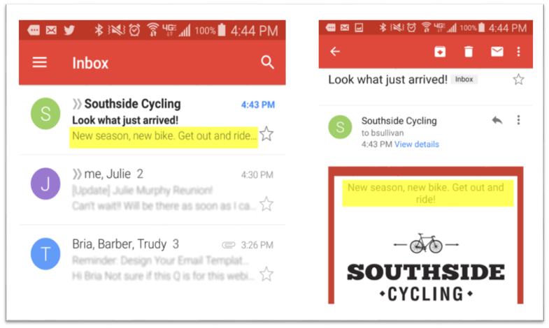 email design - preheader