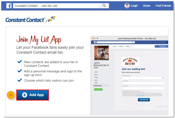 constant contact facebook join my list app