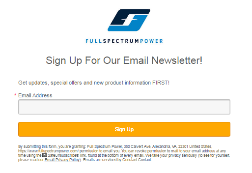 Full Spectrum Power email signup form