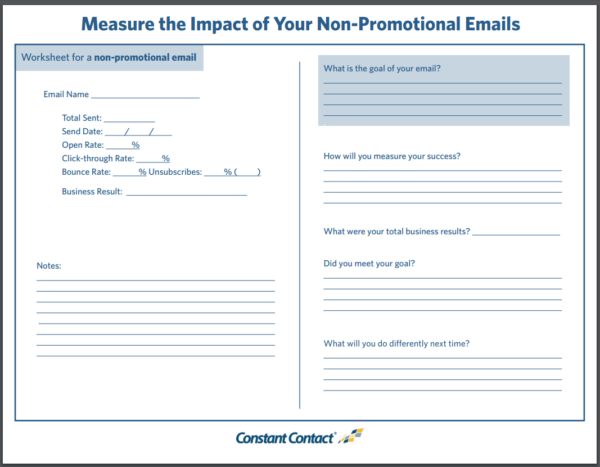 Email Measurement -- Worksheet for Non-promotional Emails