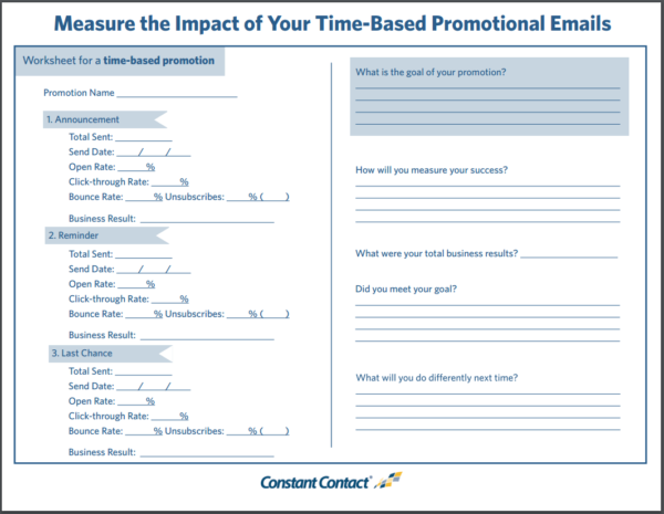 Email Measurement -- Worksheet for Promotional Emails