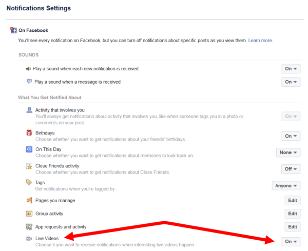 Facebook Live notification settings