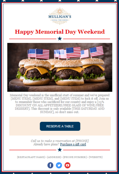 Memorial Day email template