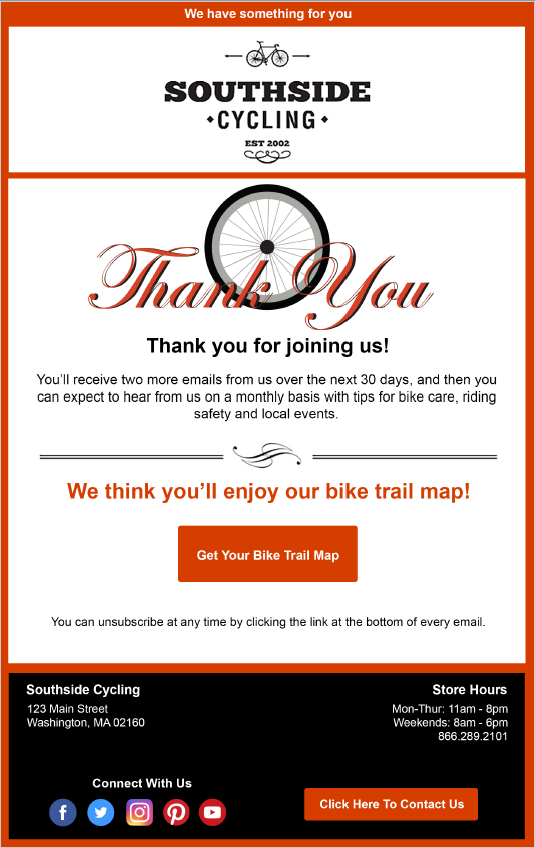 Welcome email example Southside