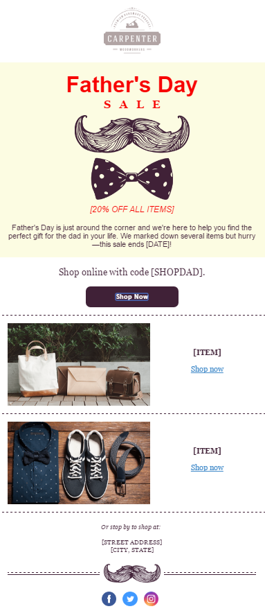 fathers day email template