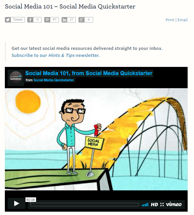 Social Media Quickstarter screenshot
