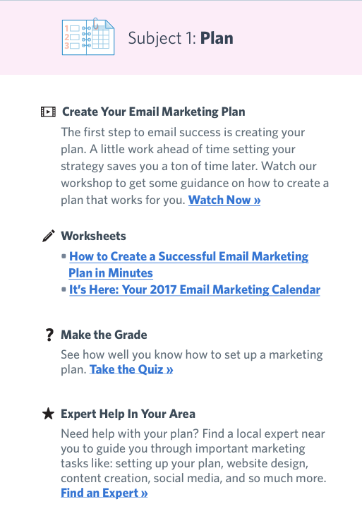 email marketing course subject