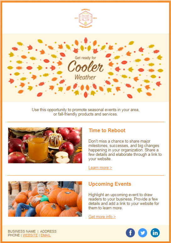 fall update email template