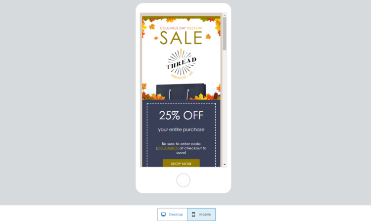 Constant Contact sales email template