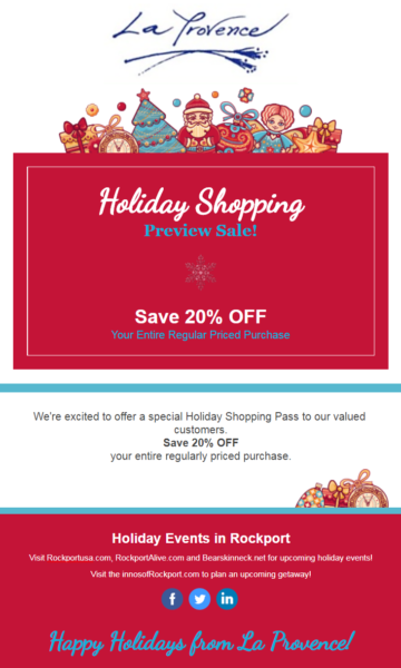 constant contact holiday preview sale example