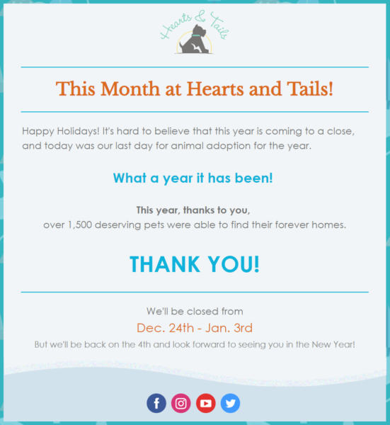 nonprofit end-of-year thank you email example