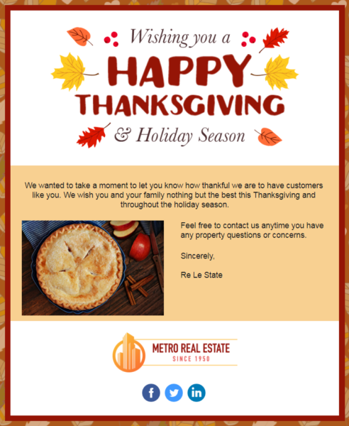 Constant Contact Thanksgiving email template