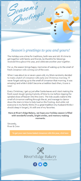 holiday memories email campaign example