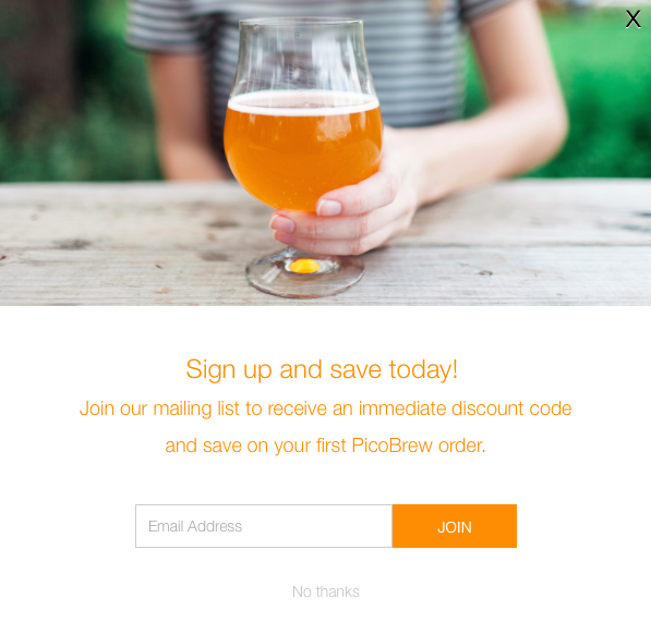 Match your pop up form to your brand colors to get more signups.