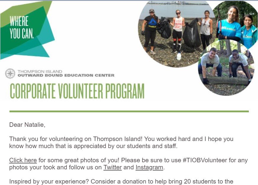 Volunteer email example