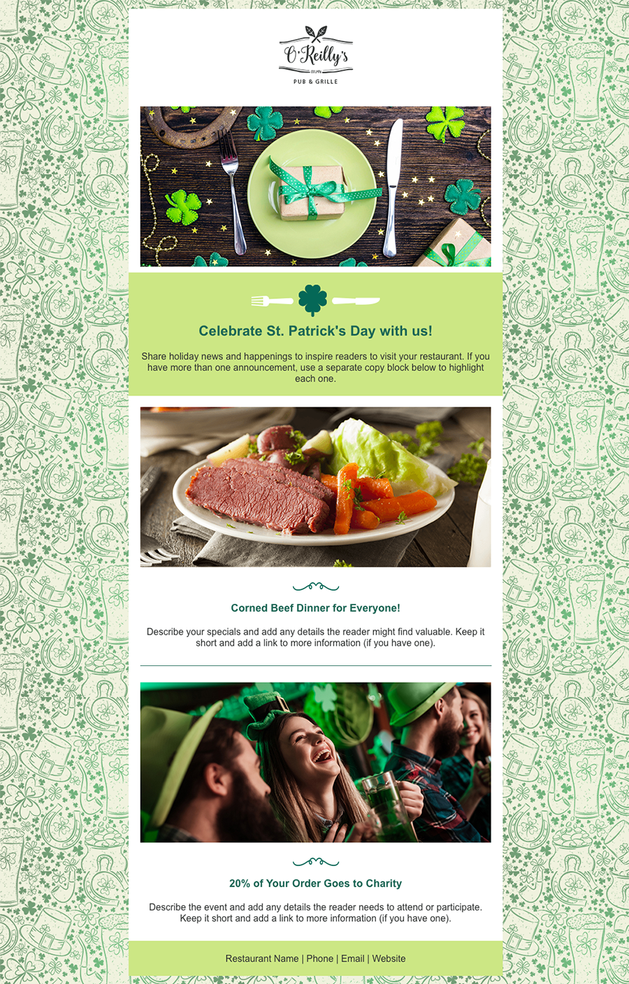 St Patrick's Day email template