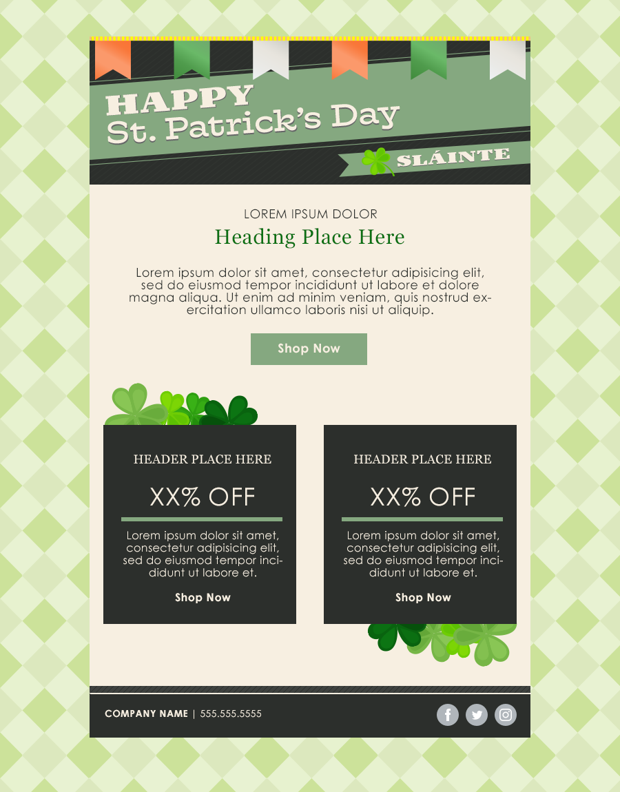 St Patrick's Day sale email template