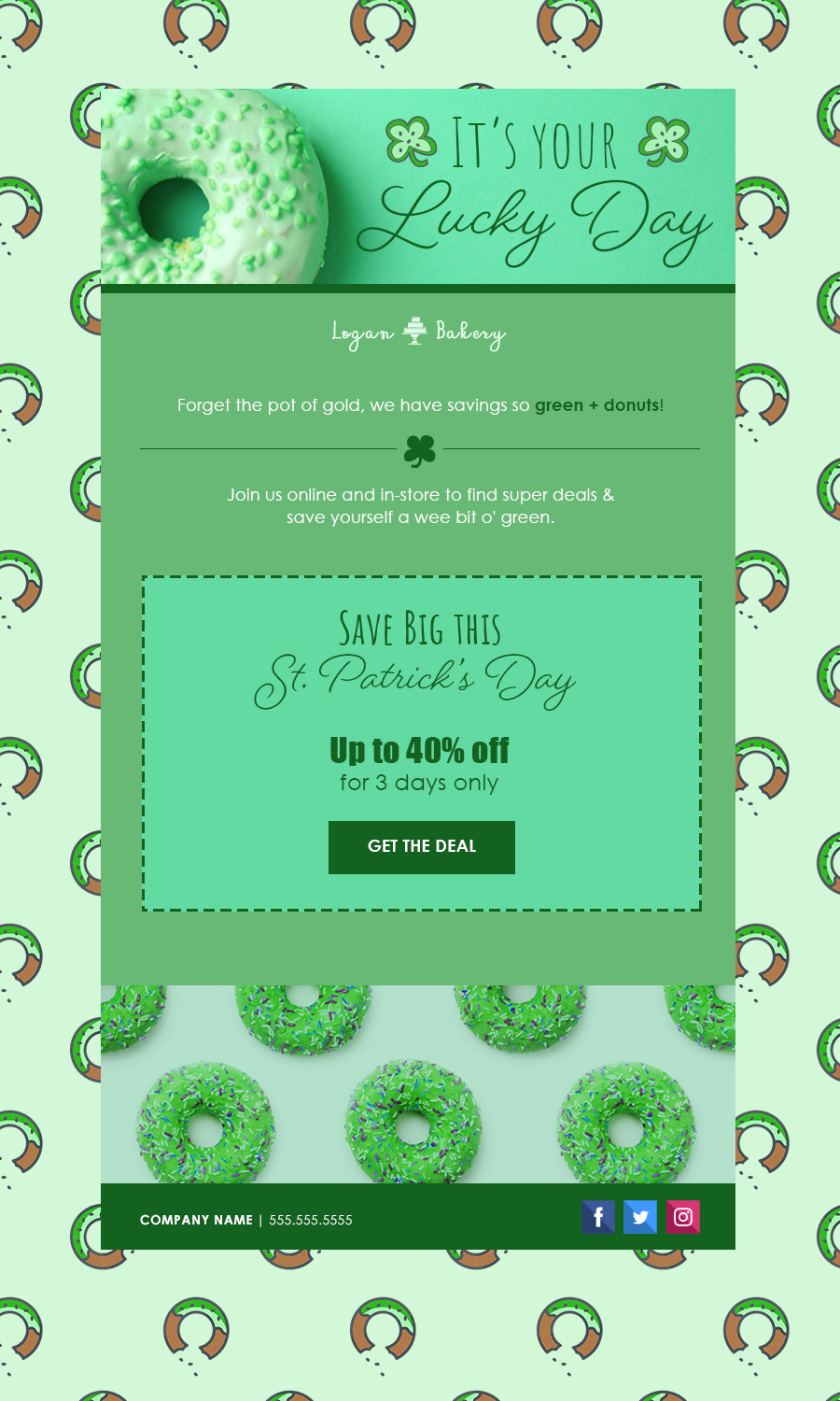 St Patrick's Day coupon email template