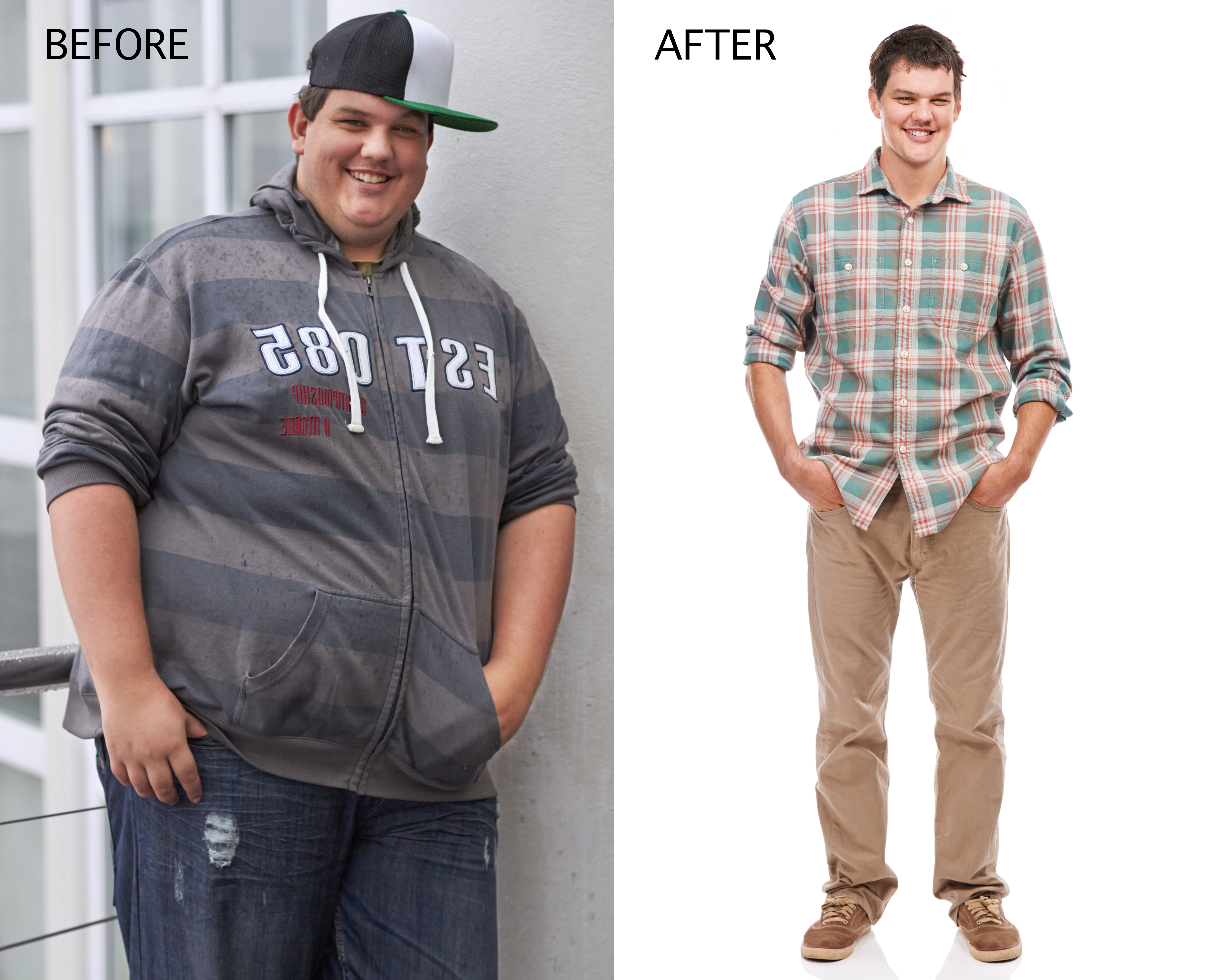 Before and after man