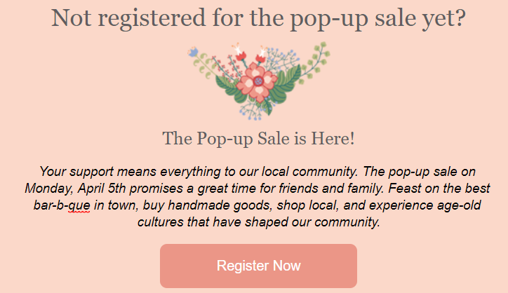 Event email example
