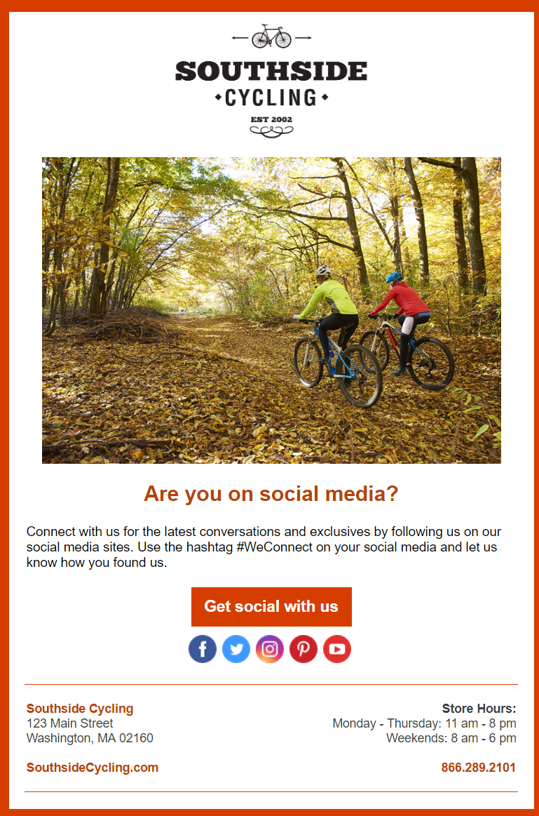 Social connect email example