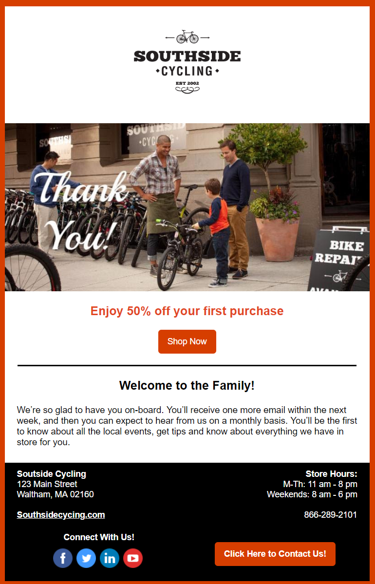 Welcome email example