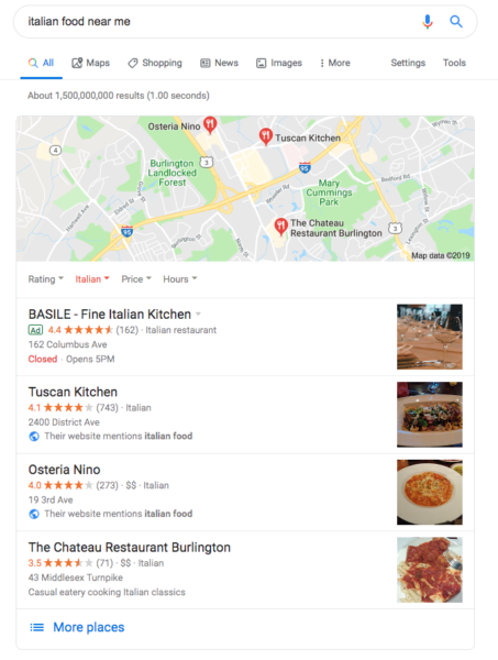 "Example Google search results for ""Italian food near me"""