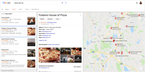 Google My Business listing