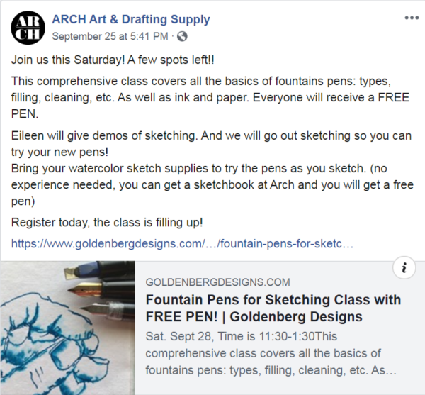 constant contact customer ARCH Art & drafting supply detailed post
