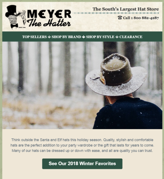 constant contact customer meyer the hatter clear call-to-action example