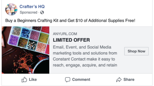 Facebook ad to a shoppable landing page