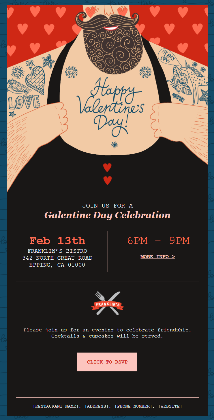 "Valentine's Day email template: ""Valentine's Day Event"""