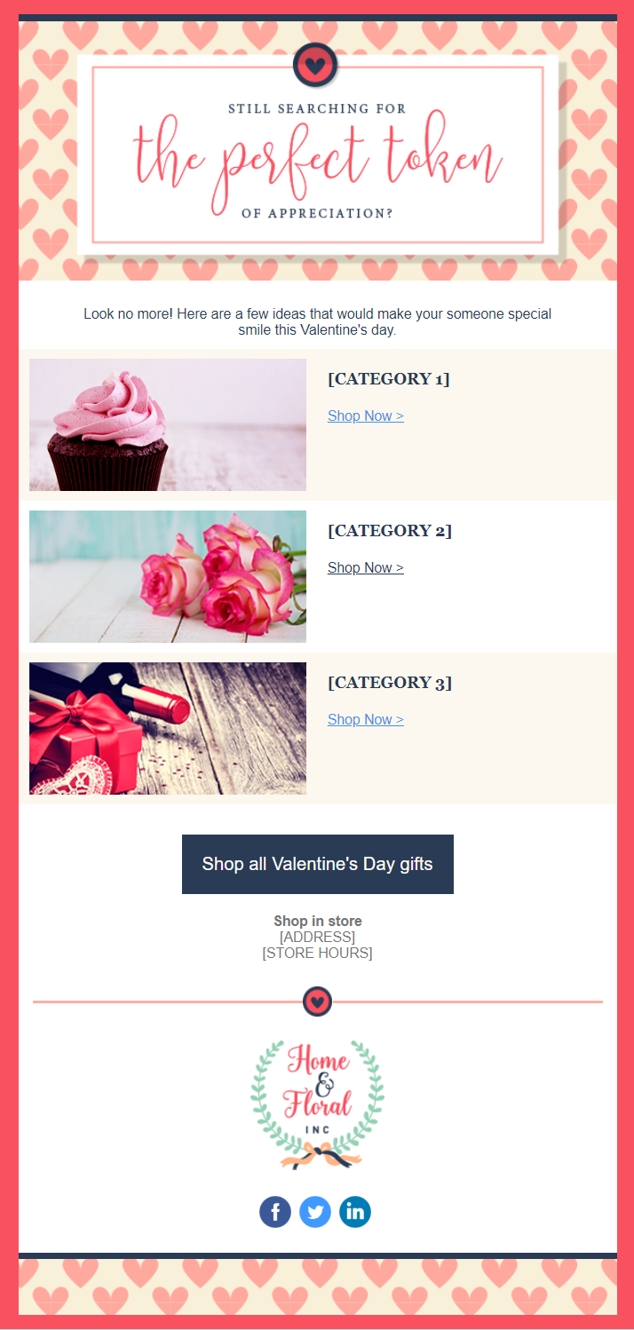 "Valentine's Day email template: ""Valentine's Day Sale"""