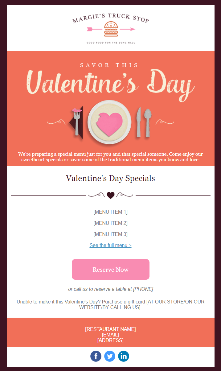 "Valentine's Day email template: ""Valentine's Day Specials"""