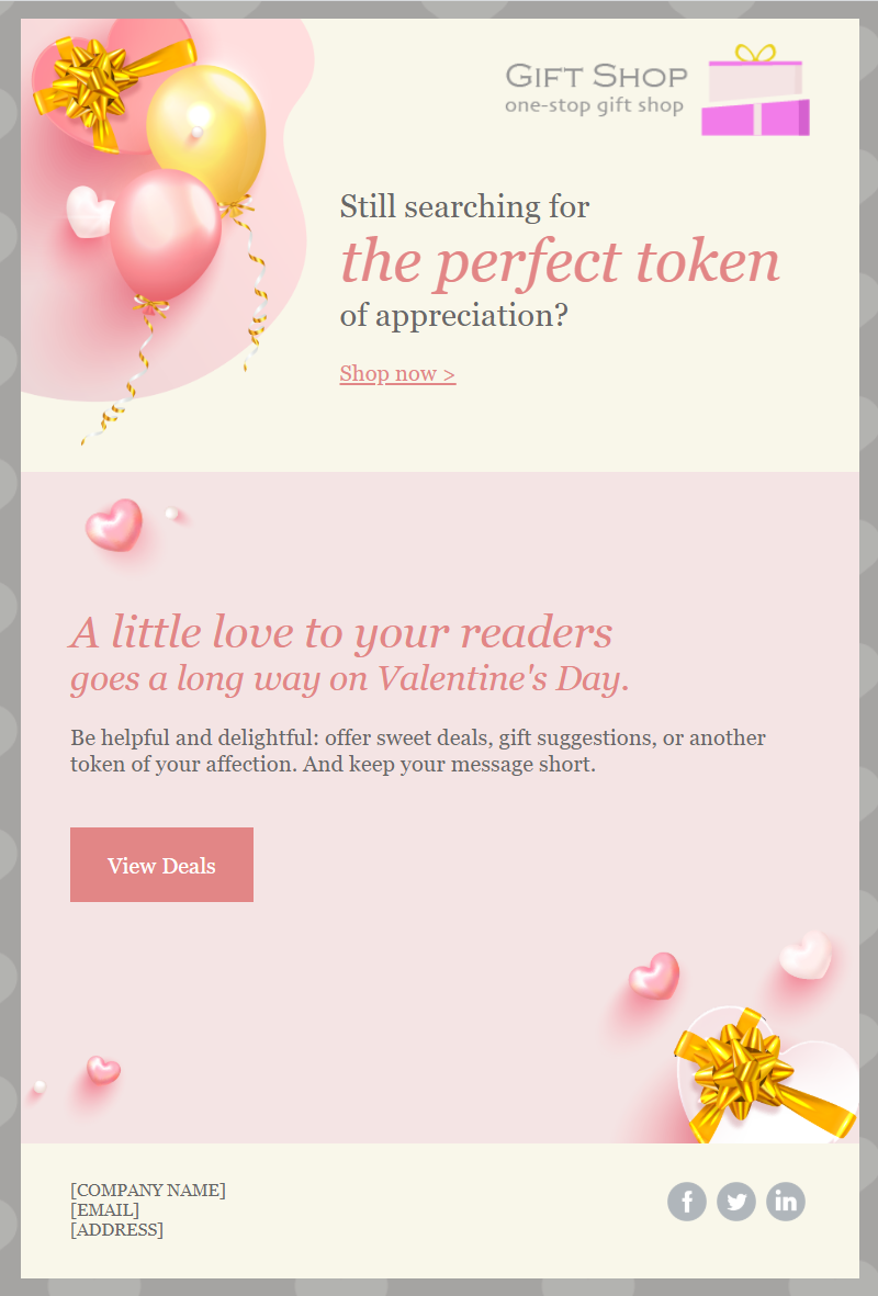 "Valentine's Day email template: ""Valentine's Day Offer"""