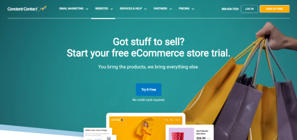 Constant Contact online store trial landing page