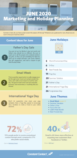 June 2020 holiday marketing infographic